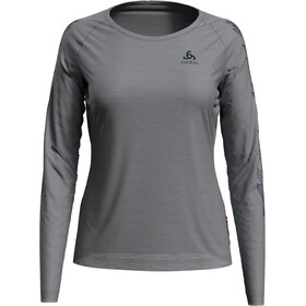 Odlo Concord Camiseta Manga Larga Cuello Redondo Mujer, grey melange/leaves on sleeve print